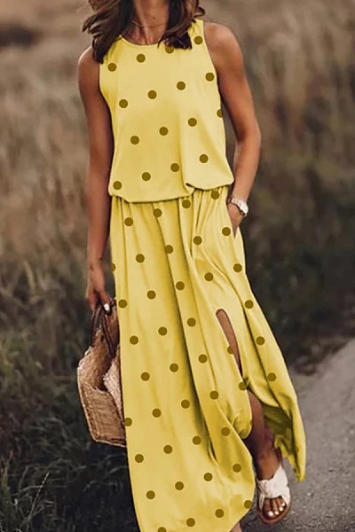 Casual Round Neck Polka Dot Print Sleeveless Slit Long Dress