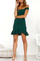 Off Shoulder  Backless  Cascading Ruffles  Plain  Short Sleeve Bodycon Dresses
