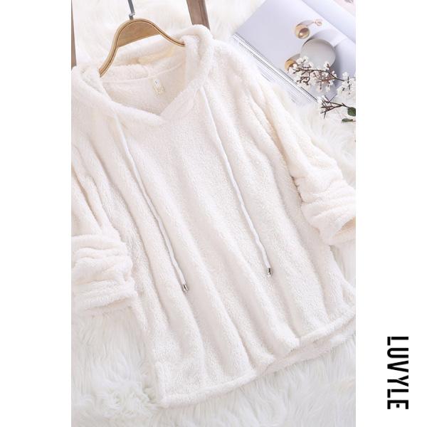 White Hooded Drawstring Plain Teddy Hoodies White Hooded Drawstring Plain Teddy Hoodies