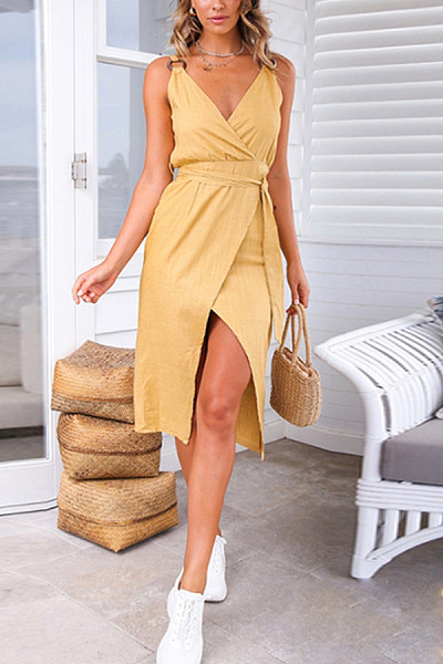 V Neck  Backless  Plain  Sleeveless Bodycon Dresses