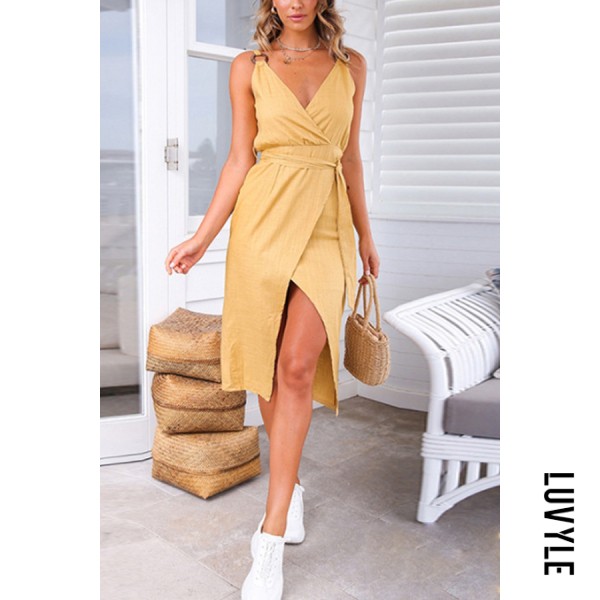 Khaki V Neck Backless Plain Sleeveless Bodycon Dresses Khaki V Neck Backless Plain Sleeveless Bodycon Dresses