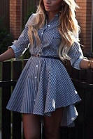 Button Down Collar  Asymmetric Hem  Striped  Long Sleeve Skater Dresses