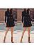 Surplice  Decorative Buttons  Plain  Long Sleeve Skater Dresses
