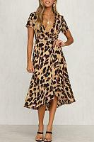 Deep V Neck  Asymmetric Hem  Leopard  Short Sleeve Maxi Dresses