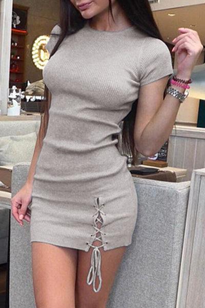 Round Neck  Fur Collar  Plain  Short Sleeve Bodycon Dresses