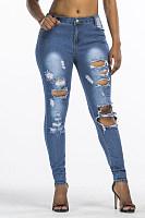 Broken Holes  Ripped  Plain Jeans