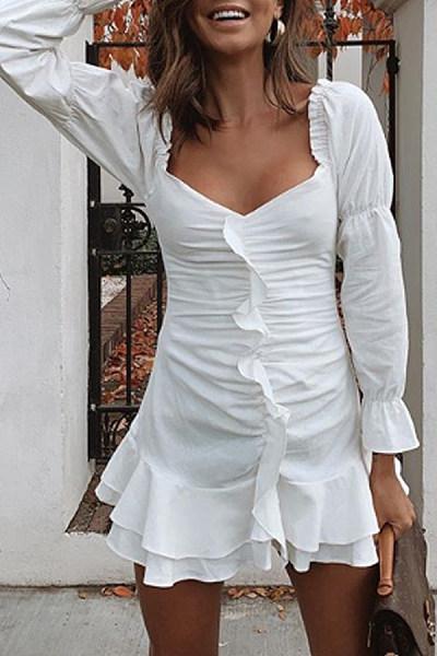 Asymmetric Neck  Plain  Long Sleeve Bodycon Dresses