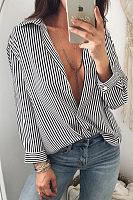 Deep V Neck  Striped  Blouses