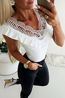 Sexy Lace Patchwork V Neck Pure Colour Slim Tanktop
