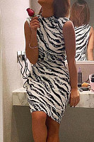 Band Collar  Printed Bodycon Dresses