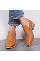 Plain  Low Heeled  Point Toe  Date Outdoor  Ankle Ankle Boots