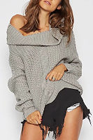 Boat Neck Casual Sweaters