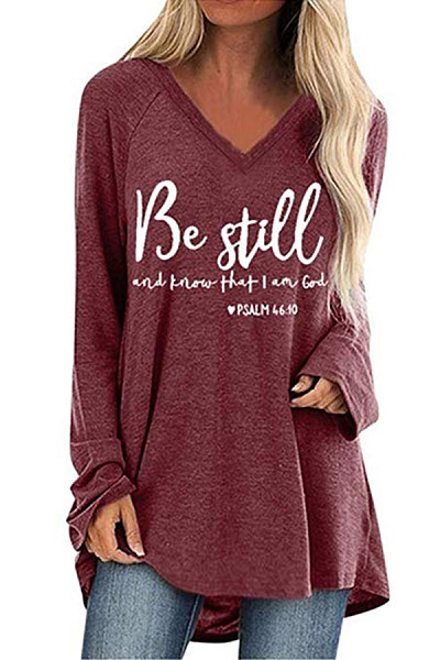 V Neck Letters Loose-Fitting T-shirt