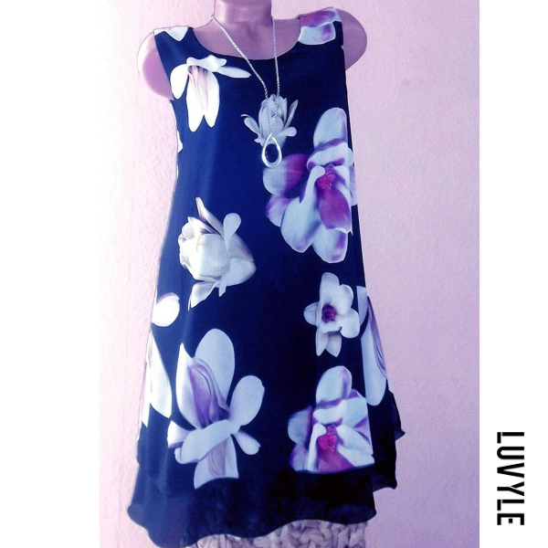 Blue Round Neck Floral Printed Shift Dress Blue Round Neck Floral Printed Shift Dress
