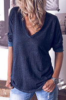 V-neck solid color long-sleeved T-shirt