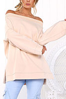 Sexy Off Shoulder Long Sleeve Plain Loose T-Shirts