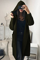 Hooded  Plain  Basic Outerwear