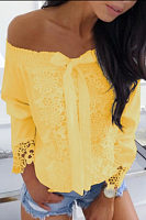 Open Shoulder  Bow  Lace T-Shirts