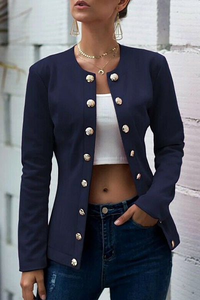 Collarless Neck Single Breasted Plain Blazers