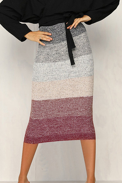 Midi  Sheath  Striped  Skirts