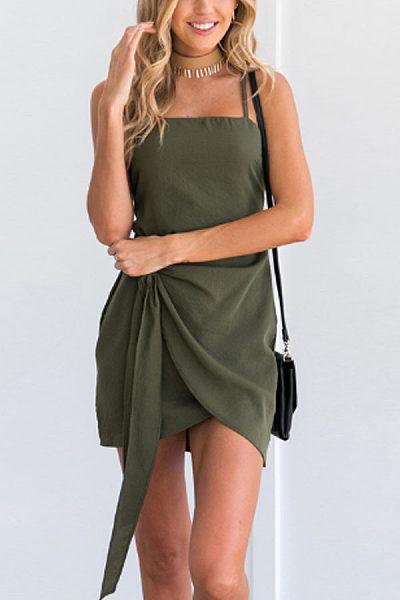 Spaghetti Strap  Asymmetric Hem  Belt  Plain  Sleeveless Casual Dresses