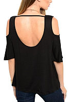 Open Shoulder Round Neck  Backless  Plain  Bell Sleeve T-Shirts