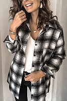 A Lapel Long Sleeve Plaid Blouse