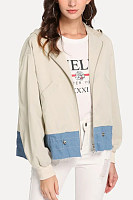 Hooded  Decorative Buttons  Patchwork Jackets
