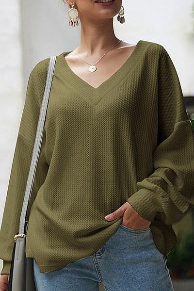 V Neck Lantern Sleeve Plain Sweater