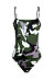 Spaghetti Strap  Backless  Camouflage One Piece