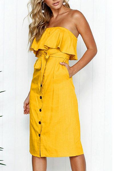 Strapless  Flounce Single Breasted  Belt  Plain  Sleeveless Maxi Dresses