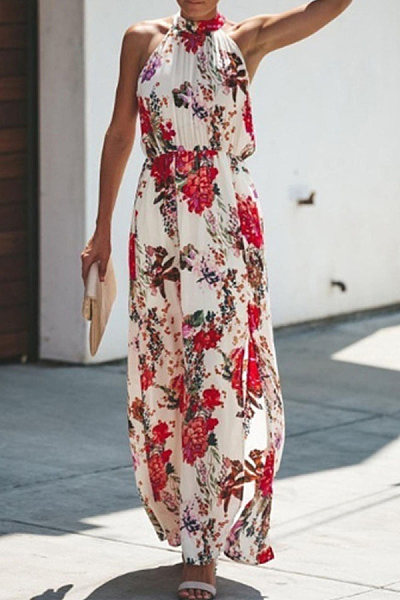 Explosive printed sleeveless temperament dress