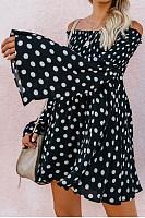 Off Shoulder  Backless  Dot  Bell Sleeve  Long Sleeve Skater Dresses