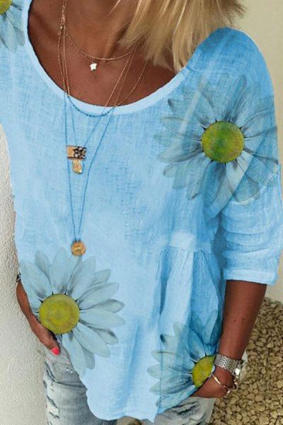 Daisy Printed Round Neck Short Sleeve T-shirt