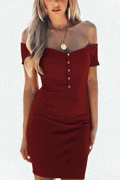 Off Shoulder  Single Breasted  Plain  Short Sleeve Bodycon Dresses