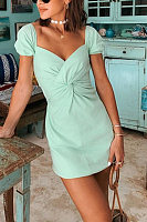 Elegant Pure Colour Short Sleeve Cross High-Waist Dress
