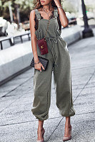 Loose Fitting  Overall  Plain Jumpsuits