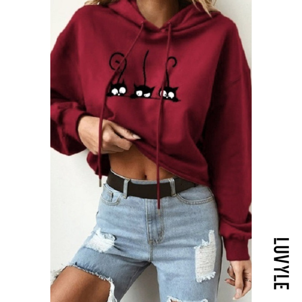 Claret Casual Long Sleeve Cat Hoodies Claret Casual Long Sleeve Cat Hoodies