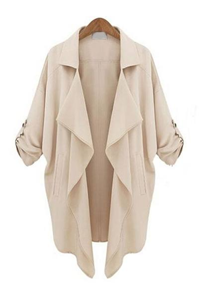 Chic Lapel With Pockets  Trench-Coats