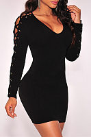 Round Neck  Lace Up  Plain Bodycon Dresses
