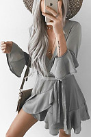 Surplice  Asymmetric Hem  Cascading Ruffles  Plain  Bell Sleeve  Long Sleeve Skater Dresses