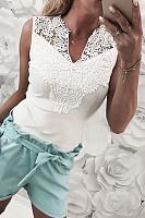 V Neck  Decorative Lace  Plain Camis
