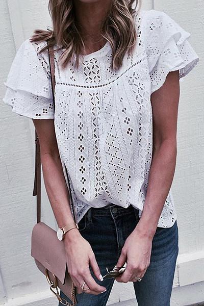 Round Neck  Patchwork  Lace Plain  Blouses