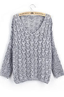 Hollow V Neck  Plain Sweaters
