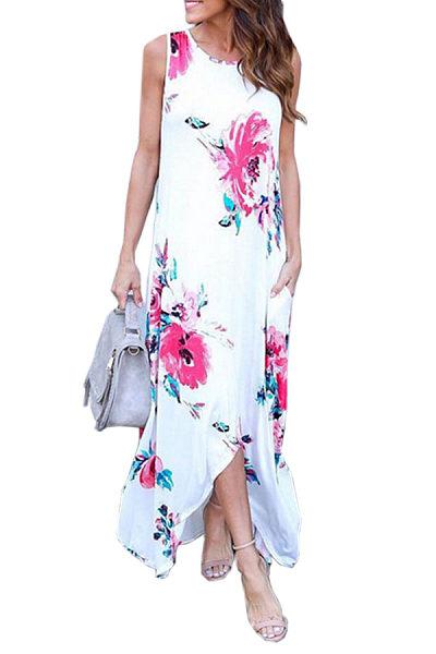 Round Neck  Asymmetric Hem  Back Hole  Floral Printed Maxi Dresses