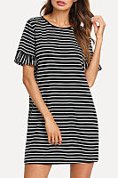 Round Neck  Striped  Bell Sleeve  Short Sleeve Casual Dresses