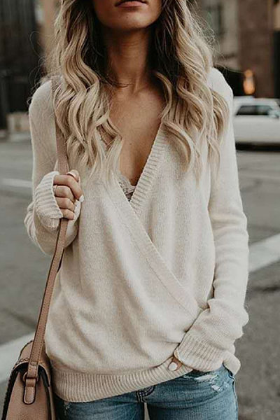 V Neck  Rib Knit Cuffs  Plain Sweaters