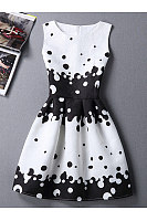 Round Neck Black White Polka Dot Skater Dress