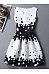Round Neck Black White Polka Dot Skater Dress