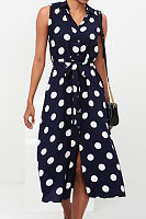 V Neck  Belt  Dot  Sleeveless Maxi Dresses
